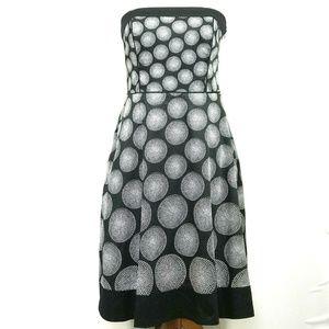 WHBM Dress Strapless Fit Flare Polka Dot